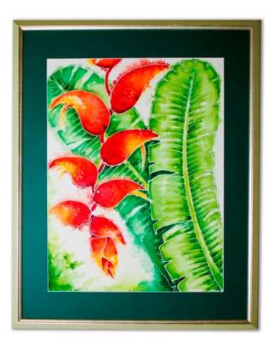 'Heliconia' Batik in a pale green frame - A BVI Art Gallery with a Difference