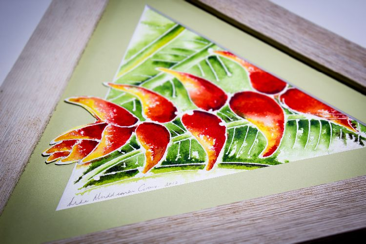 'Heliconia'  (or Lobster Claw) batik in a whitewashed barn wood frame - A BVI Art Gallery with a Difference