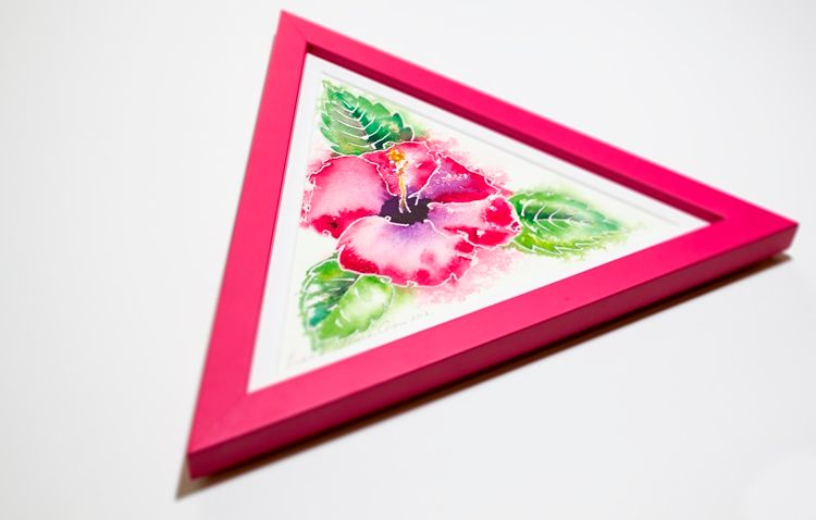 'Pink Hibiscus' Batik in a pink frame - A BVI Art Gallery with a Difference