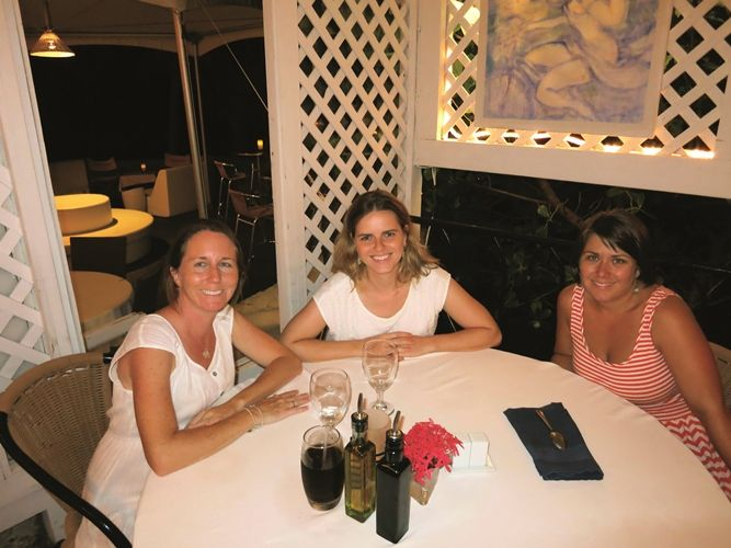 Girls take a Grand BVI Charter Boat - Enjoying Brandywine Estate Restaurant