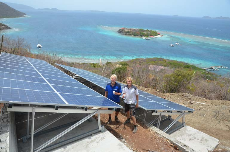 Company founders Sid Vollebregt (left) and Reinoud Feenstra at the solar panels